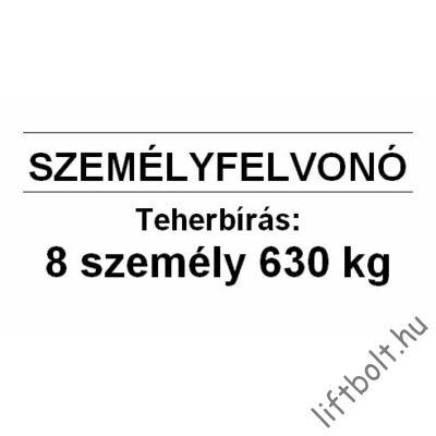 Műanyag tábla - Terhelési tábla: 630 kg, 8 személy személyfelvonó